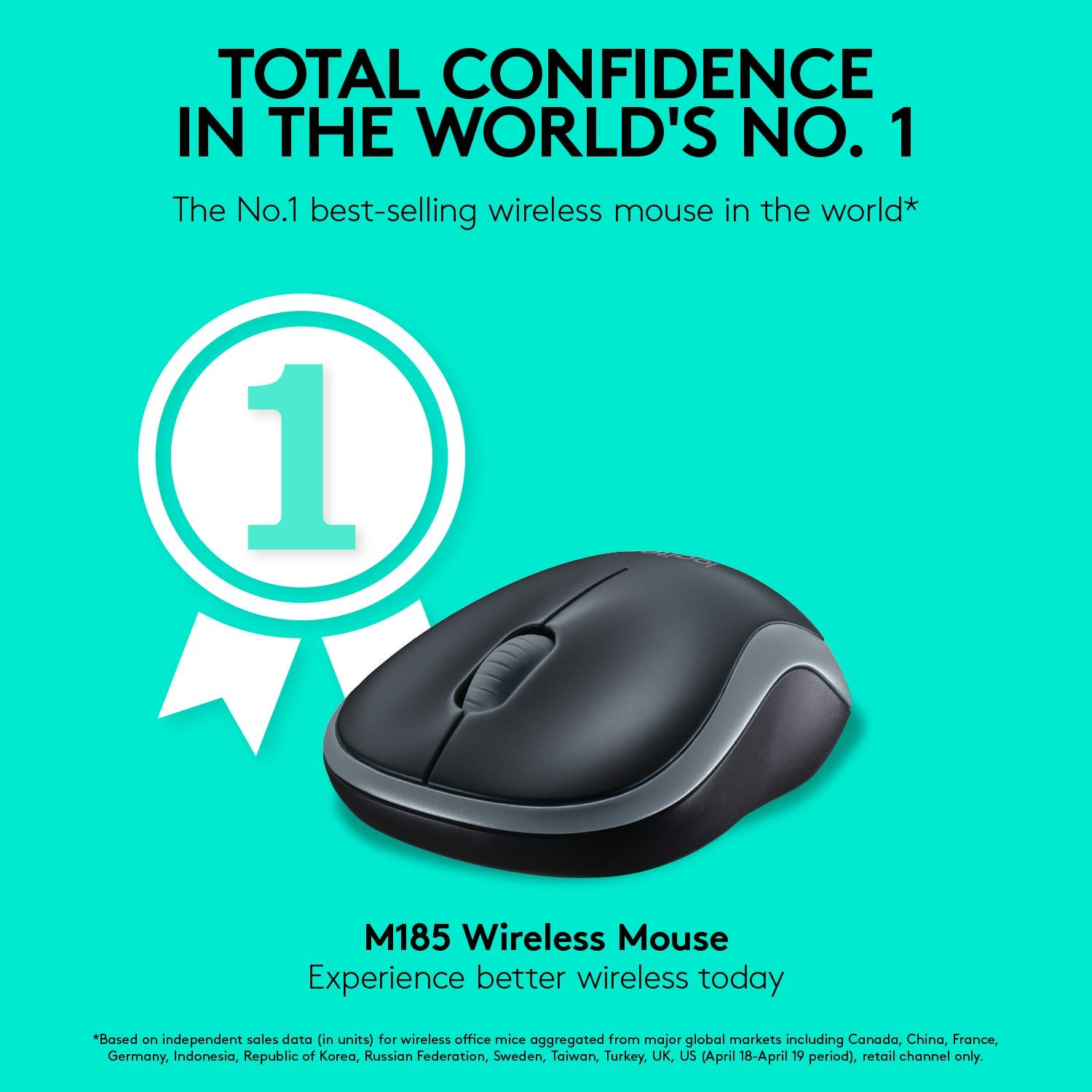 Logitech M185 Wireless Mouse USB for PC Windows, Mac and Linux, Grey with Ambidextrous Design (LOMO0037)