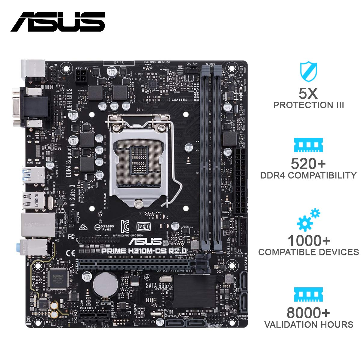 ASUS Prime H310M-CS R2.0 mATX Motherboard Intel 1151 Socket DDR4 2666MHz with SATA 6Gbps and USB 3.1 Gen 1 (ASMB0589)
